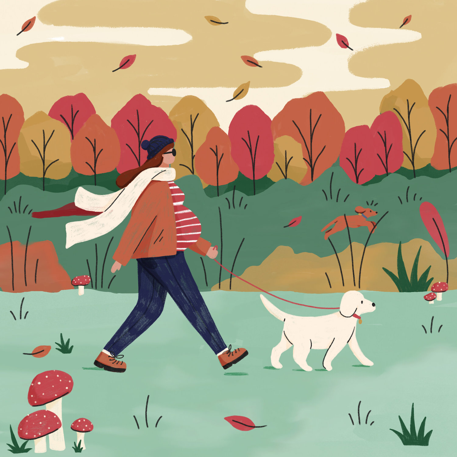 A pregnant lady walks her dog in autumn.